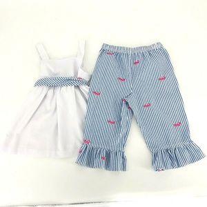 Kelly's Kids Girls Pants 6 7 Set Blue White Stripe